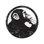 Thoughtful Monkey 2 - Black Button