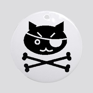 PIRATE CAT (BLK) Ornament (Round)