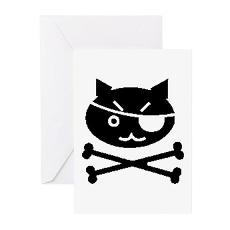 PIRATE CAT (BLK) Greeting Cards (Pk of 10)