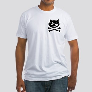 PIRATE CAT (BLK) Fitted T-Shirt