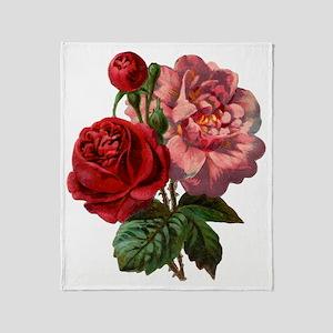 Vintage Rose Throw Blanket