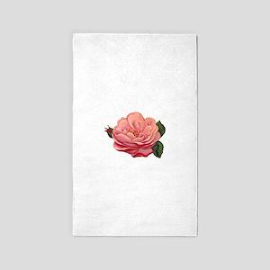 Vintage Wild Pink Rose Area Rug