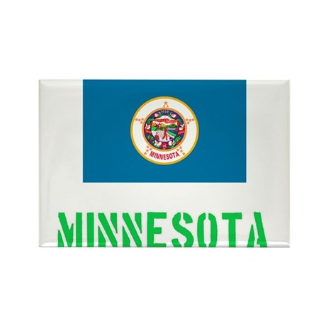 Minnesota Flag Stencil Green Design Magnets