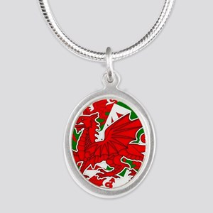 Welsh Dragon - Draig Silver Oval Necklace