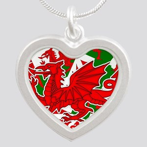 Welsh Dragon - Draig Silver Heart Necklace