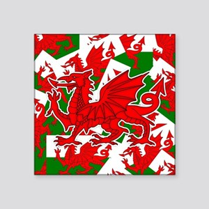 "Welsh Dragon - Draig Square Sticker 3"" x 3"""