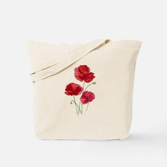 Watercolor Red Poppy Garden Flower Tote Bag
