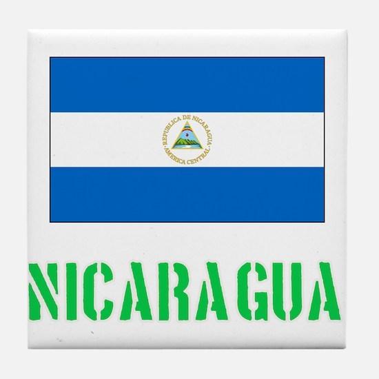 Nicaragua Flag Stencil Green Design Tile Coaster