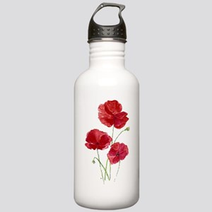 Watercolor Red Poppy Garden Flower Water Bottle