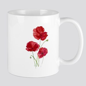 Watercolor Red Poppy Garden Flower Mugs