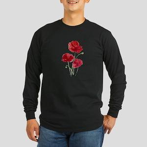 Watercolor Red Poppy Garden Flower Long Sleeve T-S