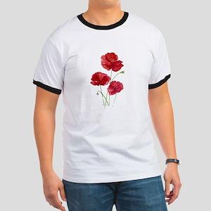 Watercolor Red Poppy Garden Flower T-Shirt