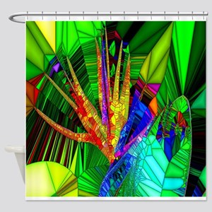 Bird of Paradise Stain Glass Art Shower Curtain