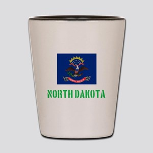 North Dakota Flag Stencil Green Design Shot Glass