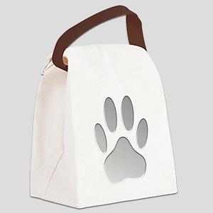 Metallic Dog Paw Print Canvas Lunch Bag