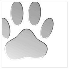 Metallic Dog Paw Print Poster