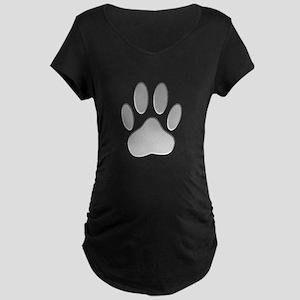 Metallic Dog Paw Print Maternity Dark T-Shirt