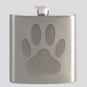 Metallic Dog Paw Print Flask