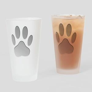 Metallic Dog Paw Print Drinking Glass