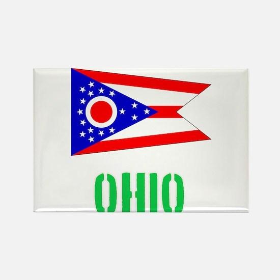 Ohio Flag Stencil Green Design Magnets