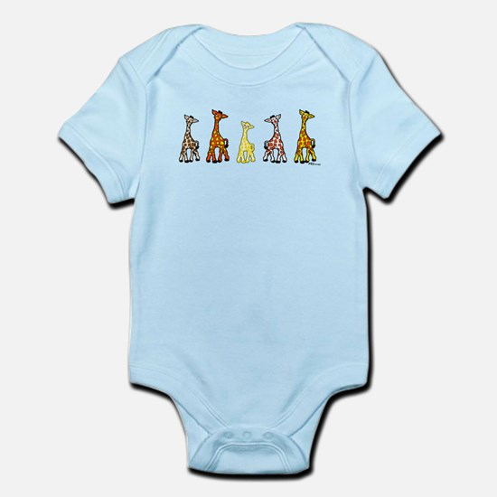Baby Giraffes In A Row Body Suit