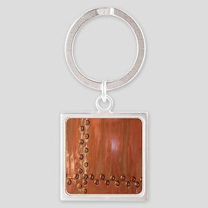 Bronze Rivet Realism Art Square Keychain