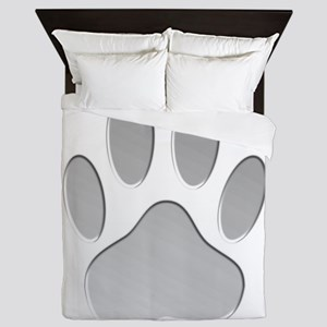 Metallic Dog Paw Print Queen Duvet