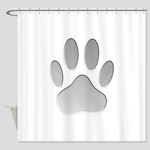 Metallic Dog Paw Print Shower Curtain
