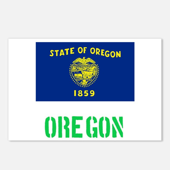 Oregon Flag Stencil Green Postcards (Package of 8)