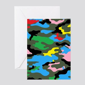 rainbow camouflage Greeting Cards
