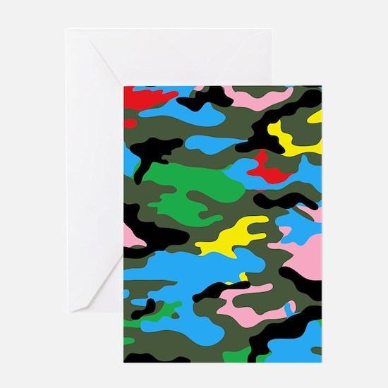 rainbow camouflage Greeting Cards