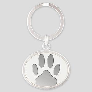 Metallic Dog Paw Print Keychains