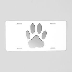 Metallic Dog Paw Print Aluminum License Plate