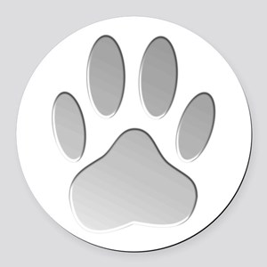 Metallic Dog Paw Print Round Car Magnet