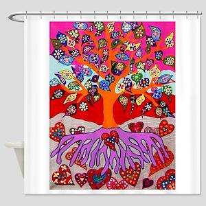 Heart Flowers - Tree of Life - Jenn Shower Curtain