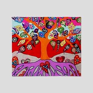 Heart Flowers - Tree of Life - Jenni Throw Blanket