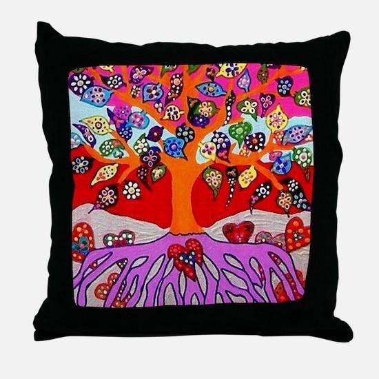 Heart Flowers - Tree of Life - Jennif Throw Pillow