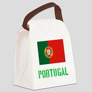 Portugal Flag Stencil Green Desig Canvas Lunch Bag