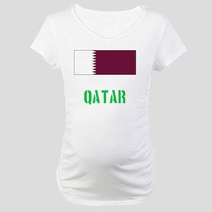 Qatar Flag Stencil Green Design Maternity T-Shirt