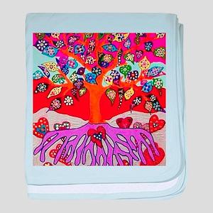 Heart Flowers - Tree of Life - Jennif baby blanket