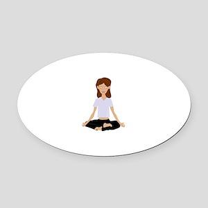 Meditating Woman Oval Car Magnet