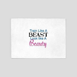 Train Like A Beast Look Like A Beau 5'x7'Area Rug