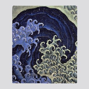 Feminine Wave by Hokusai Throw Blanket