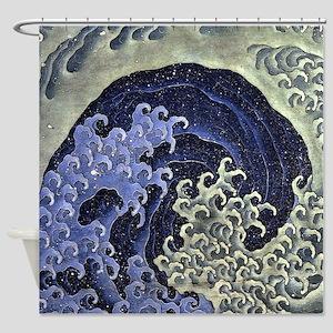 Feminine Wave by Hokusai Shower Curtain