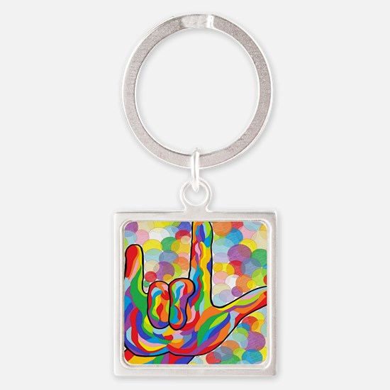 Funny Asl Square Keychain