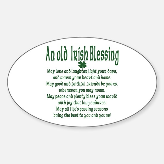 Old irish Blessing Oval Decal