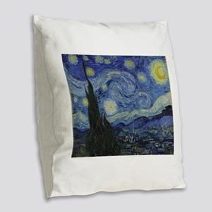 Vincent Van Gogh Starry Night Burlap Throw Pillow