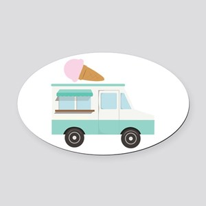 Ice Cream Truck Oval Car Magnet