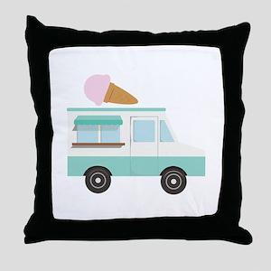 Ice Cream Truck Throw Pillow