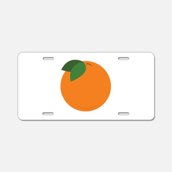 Round Orange Aluminum License Plate